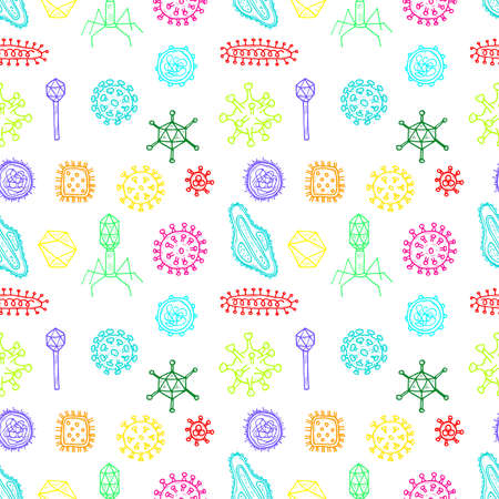 Seamless pattern with hand drawn viruses. Science collection. Vector doodle illustration Illustration