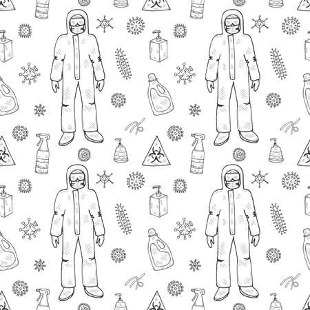 Seamless pattern with hand drawn viruses, protective suit and disinfectors, Science collection. Vector doodle illustration Illustration