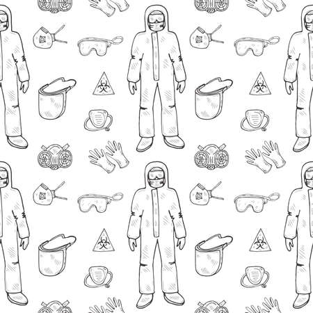 Seamless pattern with hand drawn protective suit, masks and others Science collection. Vector doodle illustration Illustration