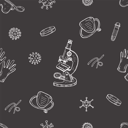 Seamless pattern with hand viruses, microscope, mask and other. Science collection. Vector doodle illustration Illustration