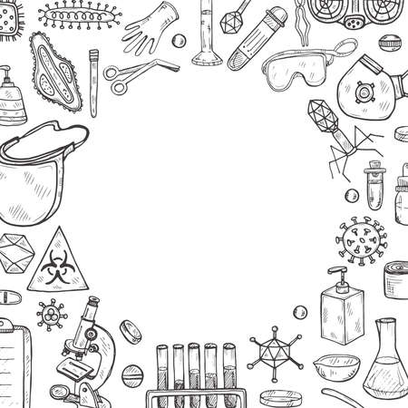 Card template with hand drawn virolory icons and other elemets. Science collection. Vector  illustration Banque d'images - 144209215