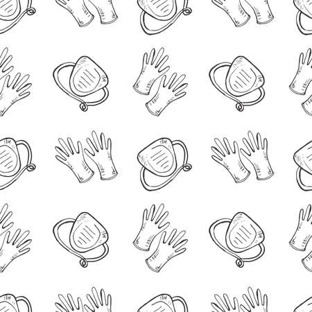 Seamless pattern with hand drawn medical masks and gloves. Medicine collection. Vector doodle illustration