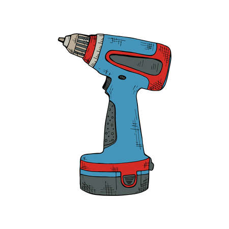 Hand drawn vector electric screwdriver