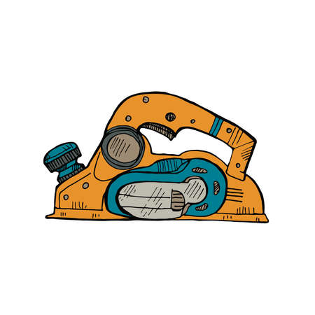 Hand drawn jack-plane. Vector collection of house repair tools