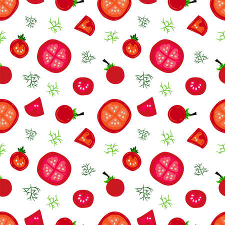 Colorful seamless pattern with tomatoes and fennel. Vector food illustration.