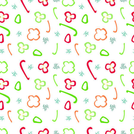 Colorful seamless pattern with pepper slices and fennel. Vector food illustration.