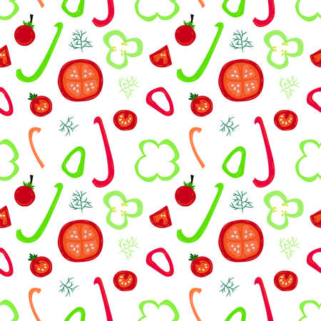 Colorful seamless pattern with pepper slices and fennel. Vector food illustration. Illustration