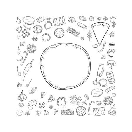 Cute hand drawn pizza construction illustration. Vector composition. Make your own pizza.