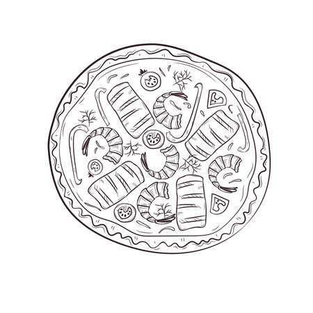 Vector illustration with hand drawn pizza. Banque d'images - 144209211