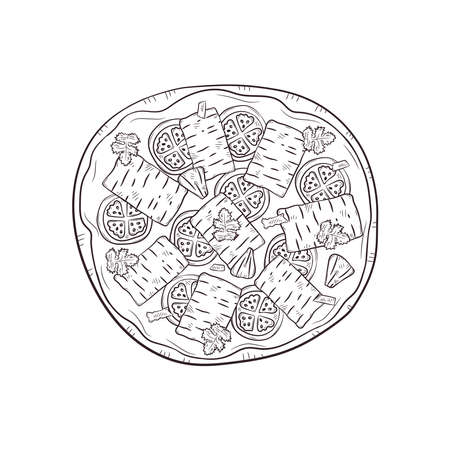 Vector illustration with hand drawn pizza. Banque d'images - 144209236