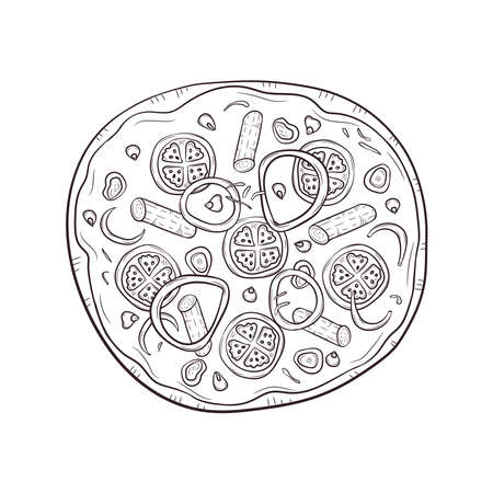 Vector illustration with hand drawn pizza. Banque d'images - 144177927