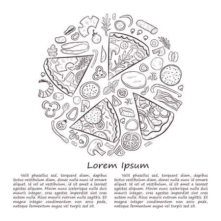 Vector illustration with hand drawn pizza.