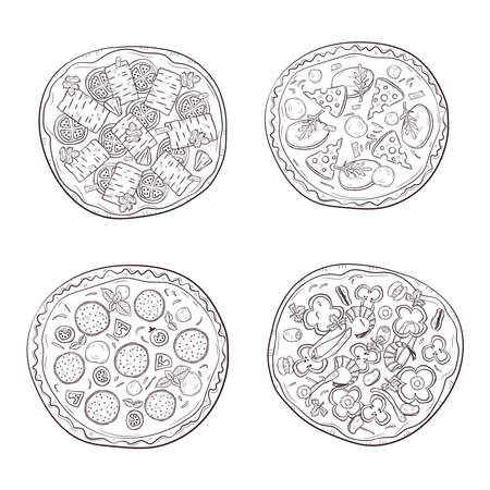 Vector illustration with hand drawn pizza. Set of four different types of pizza.