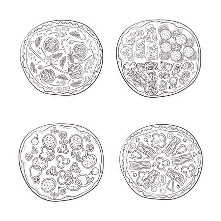 Vector illustration with hand drawn pizza. Set of four different types of pizza. Illustration