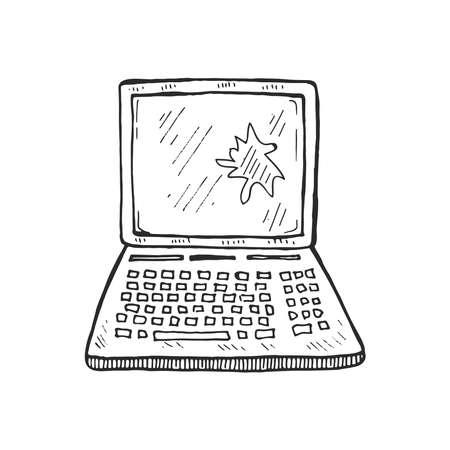 Hand drawn broken laptop. Vector illustration