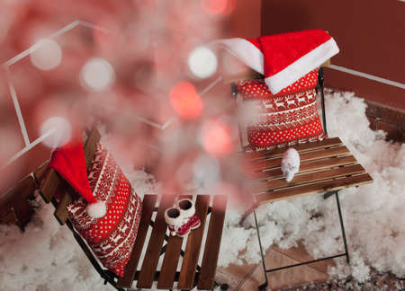 bootees: Christmas decoration with pillow, babys bootees and snow
