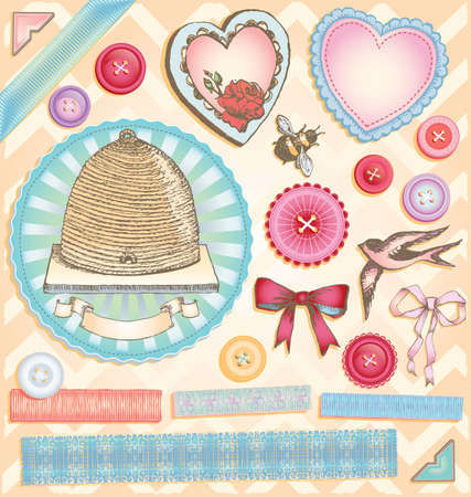 Hand Drawn Vintage Style Romantic Scrapbook Vector Set 2