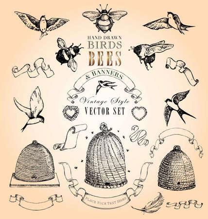 swallow: Hand Getrokken Vogels, Bijen en Banners Vintage Style Vector Set Stock Illustratie