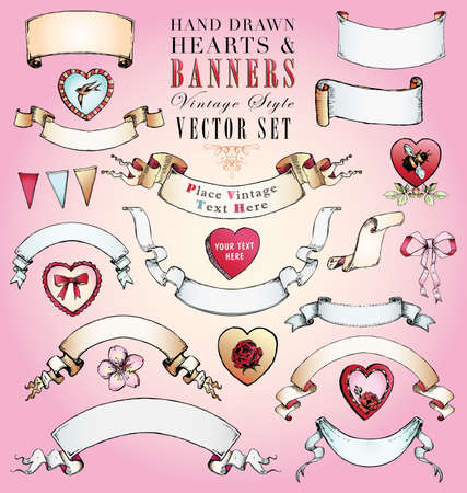 Hand Drawn Vintage Style Hearts, Banners and Bows Vector Set