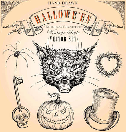 Hand Drawn Estilo Vintage Halloween Set Vector