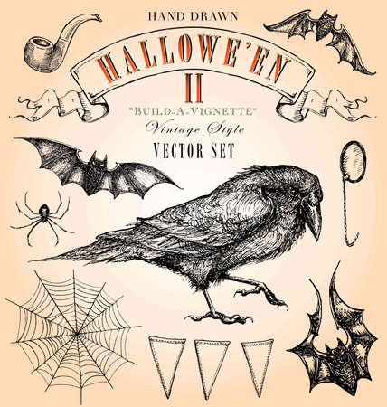 corvo imperiale: Hand Drawn Vintage Style Vector Halloween Set 2 Vettoriali