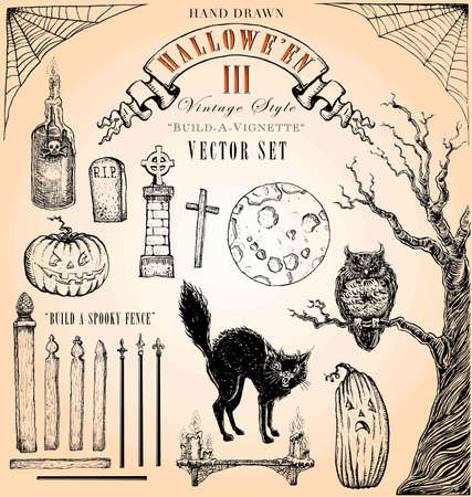 victorian fence: Hand Drawn Vintage Style Halloween Vector Set 3 Illustration