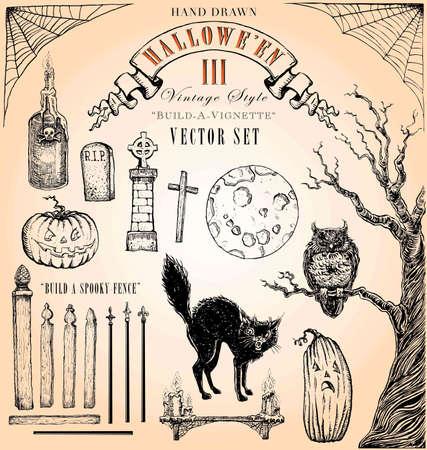 halloween greetings: Hand Drawn Vintage Style Halloween Vector Set 3 Illustration