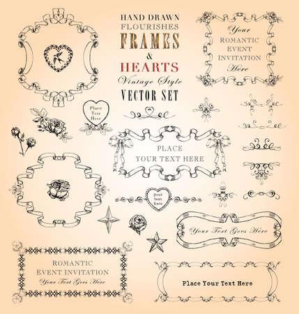 ornaments vector: Disegnati a mano in stile Cornici d'epoca e ornamenti Vector Set Vettoriali