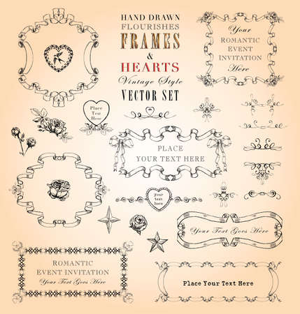 shabby chic: Hand Drawn Vintage Style Frames and Ornaments Vector Set