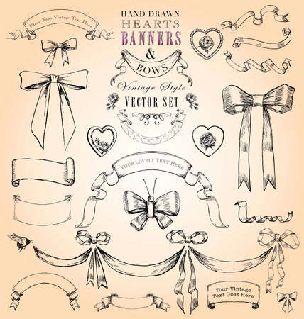 Hand Drawn Vintage Style Hearts, Ribbons and Bows Vector Set