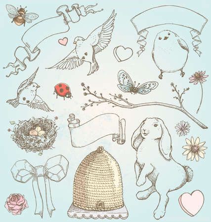bee hive: Hand Drawn Vintage Spring Elements Illustration
