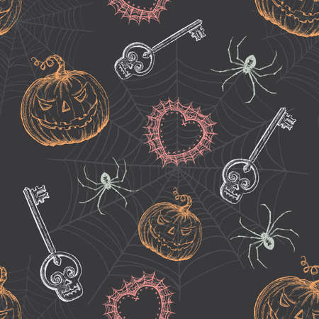 Hand Drawn Vintage Halloween Seamless Pattern Stock Vector - 20471679