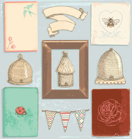 Hand Drawn Vintage Garden Elements Vector Set  Colour fills are grouped separately from outlines for easy editing