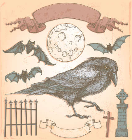 tombstone: Hand Drawn Vintage Halloween Spooky Crow Vector Set  Colour fills are separate from outlines for easy editing  No transparency used