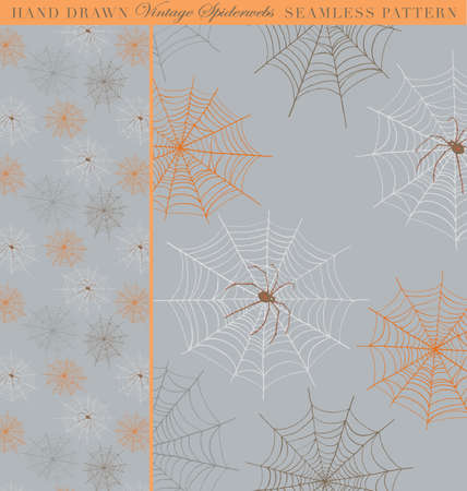 spider web: Hand Drawn Vintage Spiderweb Seamless Pattern  Sample and pattern are on separate layers  Illustration