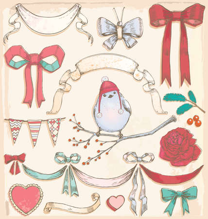 Hand Drawn Vintage Holiday Bird, Ribbons and Bows Vector Set  Colour fills are grouped separately from outlines for easy editing  No transparency used  Illustration