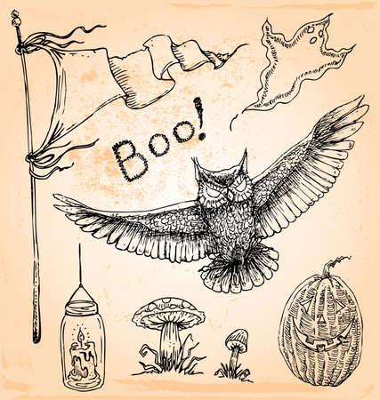 Hand Drawn Vintage Halloween Set Five Illustration