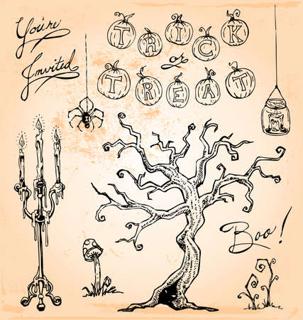 Hand Drawn Vintage Halloween Set Four