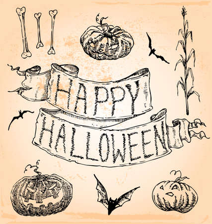 Vintage Hand Drawn Halloween Set Seven Illustration