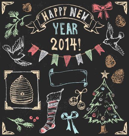 pine boughs: Vintage Christmas Chalkboard  Illustration