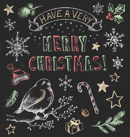 bough: Vintage Christmas Chalkboard  Illustration