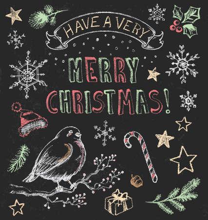 nostalgic christmas: Vintage Christmas Chalkboard  Illustration