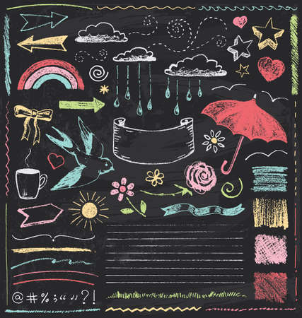 grunge: Vintage Chalkboard Design Elements Hand Drawn Vector Set