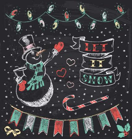 Vintage Christmas Chalkboard Hand Drawn Vector Set   Illustration