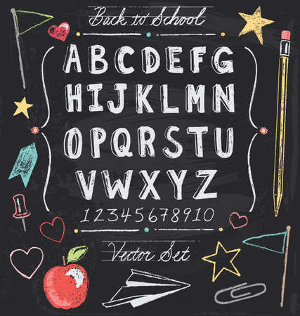 Vintage Back To School Chalkboard Hand Drawn Vector Set Illustration