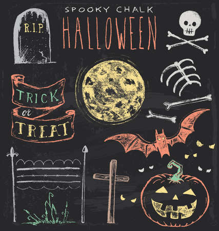 Vintage Chalkboard Halloween Hand Drawn Set
