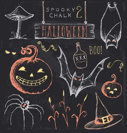 Vintage Chalkboard Halloween Hand Drawn Set 2 Illustration
