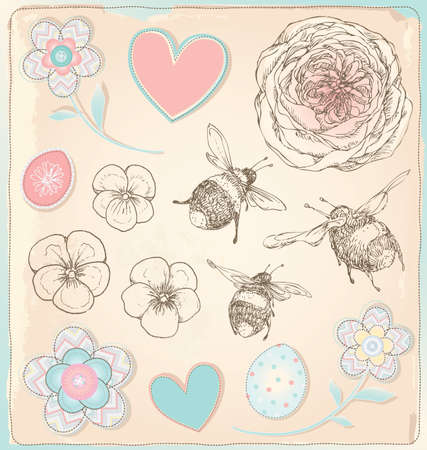 Hand Drawn Vintage Bees, Flowers and Hearts Set