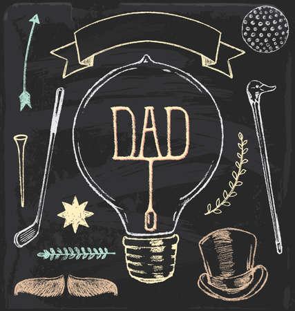 Hand Drawn Chalk Fathers Day Set