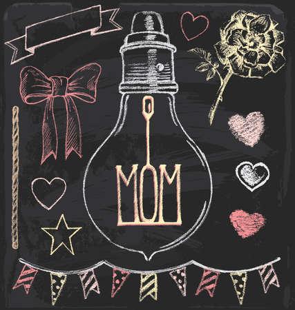 Hand Drawn Chalk Mothers Day Set